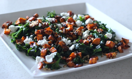 Maple-Sweet-Potato-broccolini-pinenut-goat-cheese-salad-2